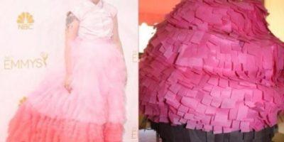 Lena Dunham y su piñata. Vestido. Piñata/Vestido. Foto:Twitter