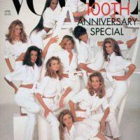 Aniversario número 100 de Vogue en 1992. Estaban todas las supermodelos de la época. Foto:Vogue