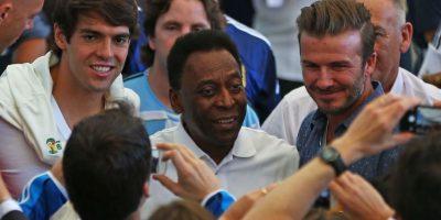 Los futbolistas Kaká, Pelé y Beckham. Foto:Getty Images
