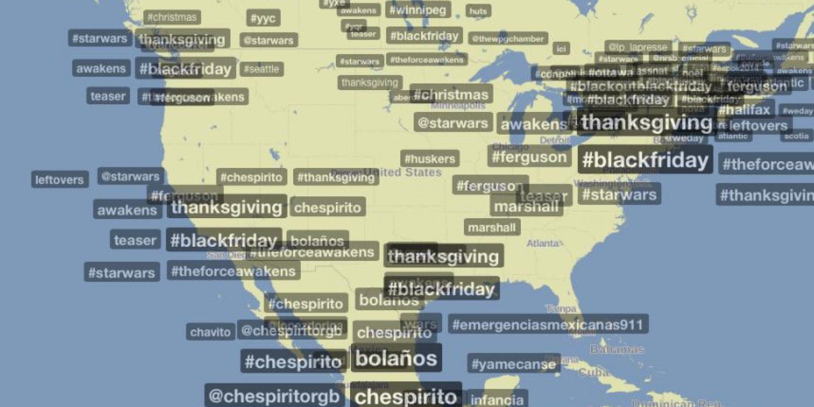 El hashtag #Chespirito ha causado el mismo impacto que las tendencias mundiales #blackfriday y #starwars Foto:Trendsmap.com