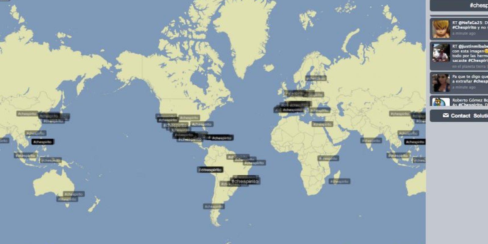 Este es el impacto que ha tenido la muerte de #Chespirito en las redes sociales del mundo Foto:Trendsmap.com
