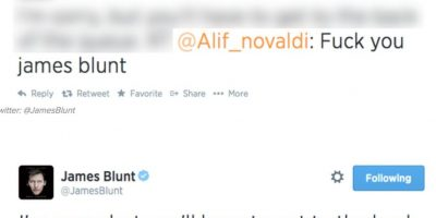 """Alguien le dice a James Blunt """"Jódete, James Blunt"""". Este responde: """"Lo siento, pero tienes que hacer fila"""" Foto:Twitter"""