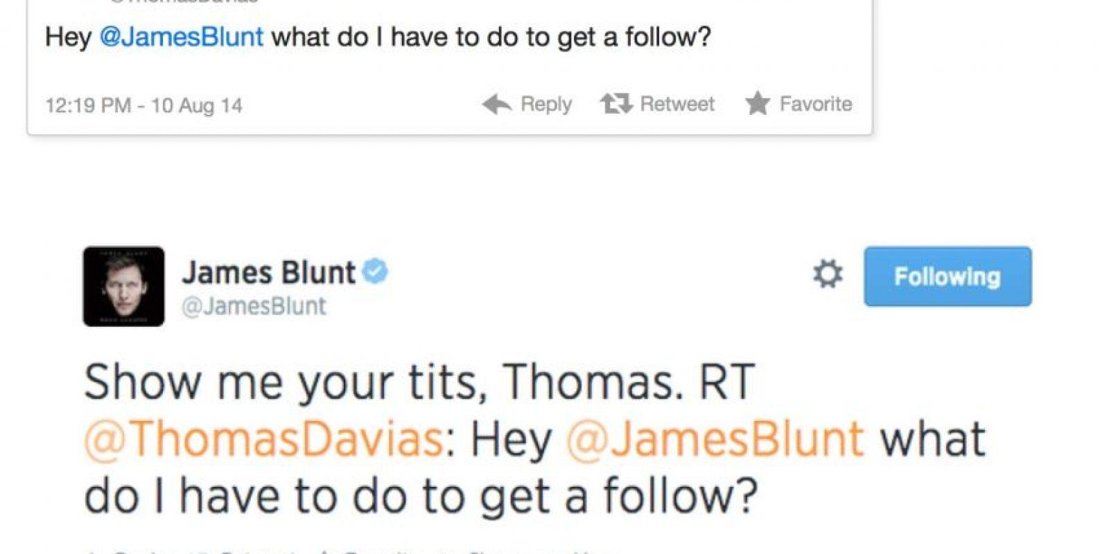 """A James Blunt le preguntan: """"¿Qué hago para que me sigas?"""". Él responde: """"Muéstrame tus pechos"""" Foto:Twitter"""