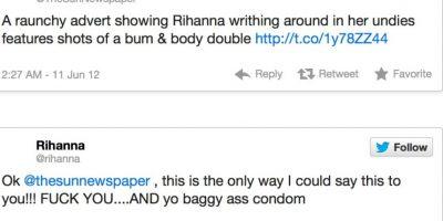 """The Sun afirma que Rihanna tiene poca ropa. Rihanna responde: """"Esta es la única forma en que diré esto. J*danse y su trasero bolsudo de condón"""" Foto:Twitter"""