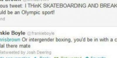 """Chris Brown dice: """"Creo que el skateboarding debería ser considerado deporte olímpico"""". Alguien le responde: """"Lo mismo que golpear a mujeres, en tu caso"""" Foto:Twitter"""