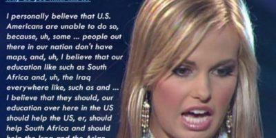 """A Miss Carolina del Sur, concursando por Miss Teen América, se le pregunta por qué los estadounidenses no pueden ubicar su propio país. """"Porque… ¿no hay mapas? Y países como Sudáfrica e Irak…Estados Unidos debería ayudarlos"""" Foto:Fail.com"""