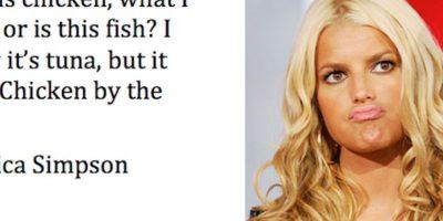 """¿Es pescado o pollo esto? Dice ""Pollo del mar"" Jessica Simpson Foto:Guff"