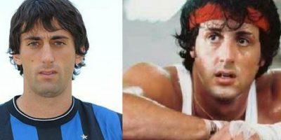 El argentino Diego Milito y Sylverter Stallone, cuando protagonizó Rambo Foto:Twitter