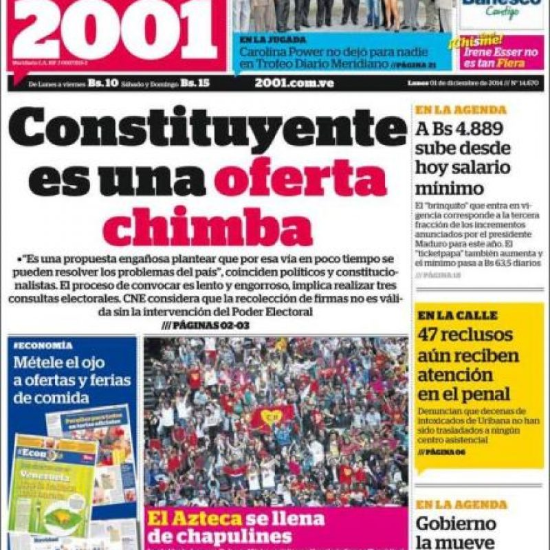 Venezuela, Diario 2001 Foto:Diario 2001