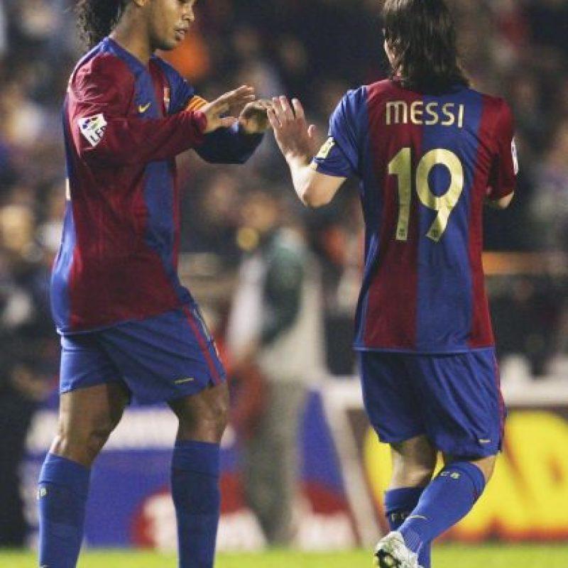 Ronaldinho y Messi en 2007 Foto:Getty