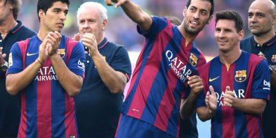 Luis Suárez, Sergio Busquets y Messi. Foto:Getty Images