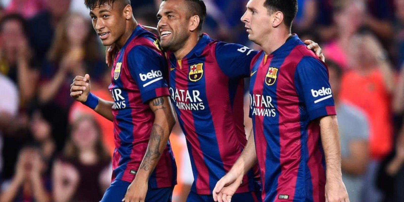 Neymar, Dani Alves y Messi. Foto:Getty Images