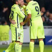 Jordi Alba, Messi y Luis Suárez. Foto:Getty Images