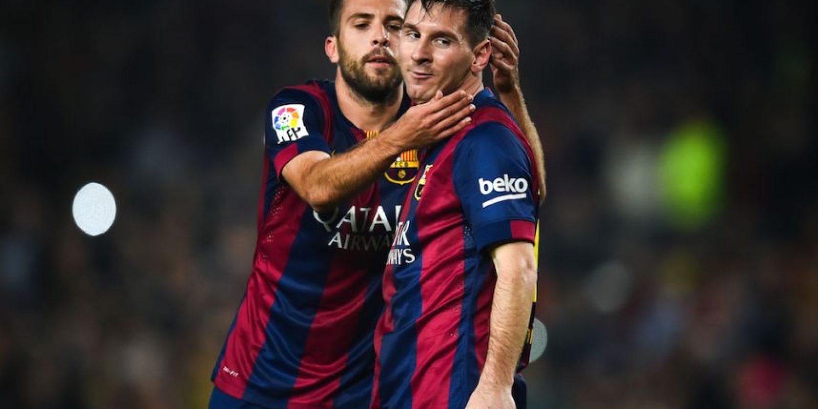 Jordi Alba y Messi. Foto:Getty Images