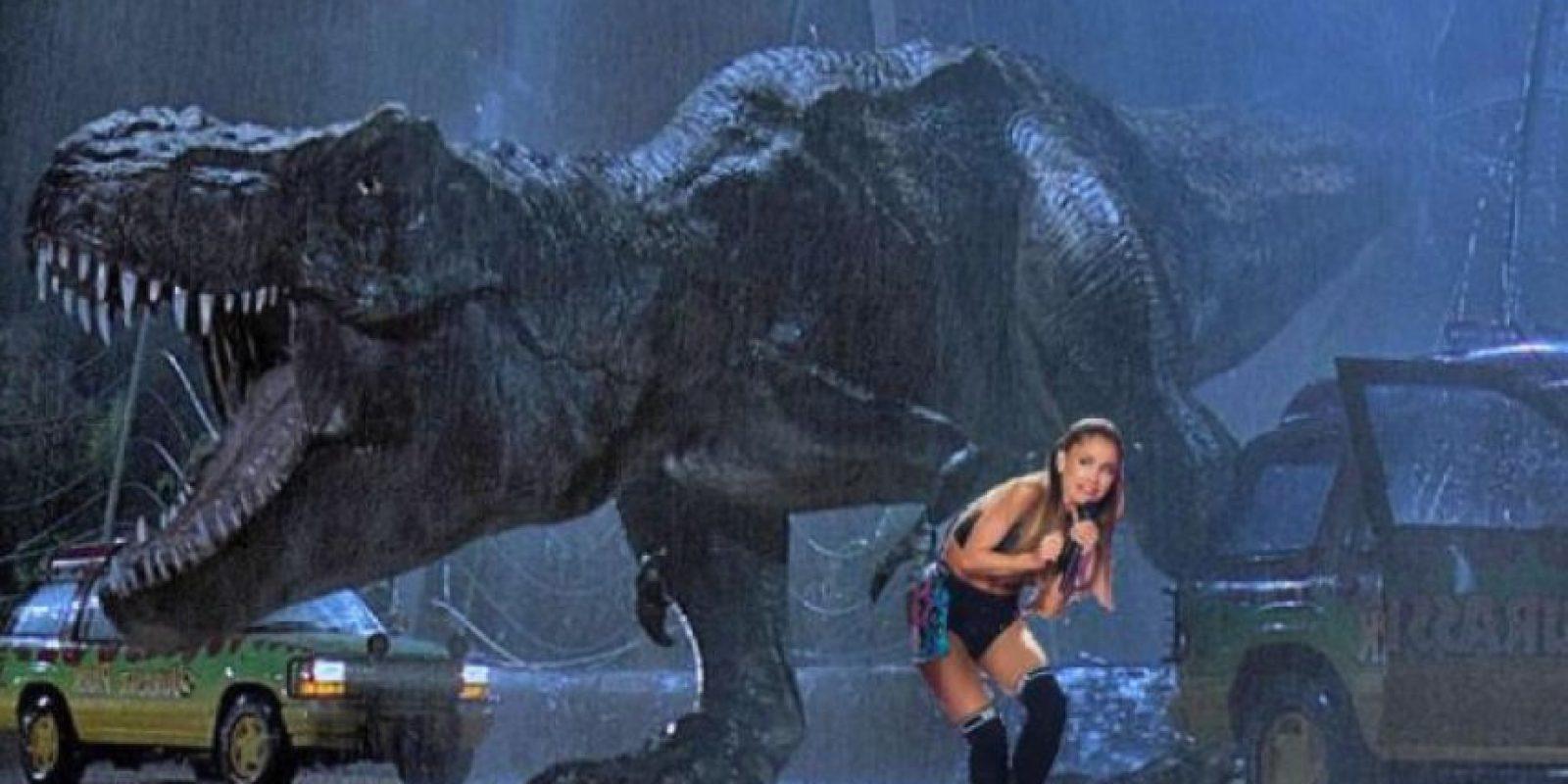 """Con los dinosaurios de """"Jurassic Park"""" Foto:Mashable.com"""