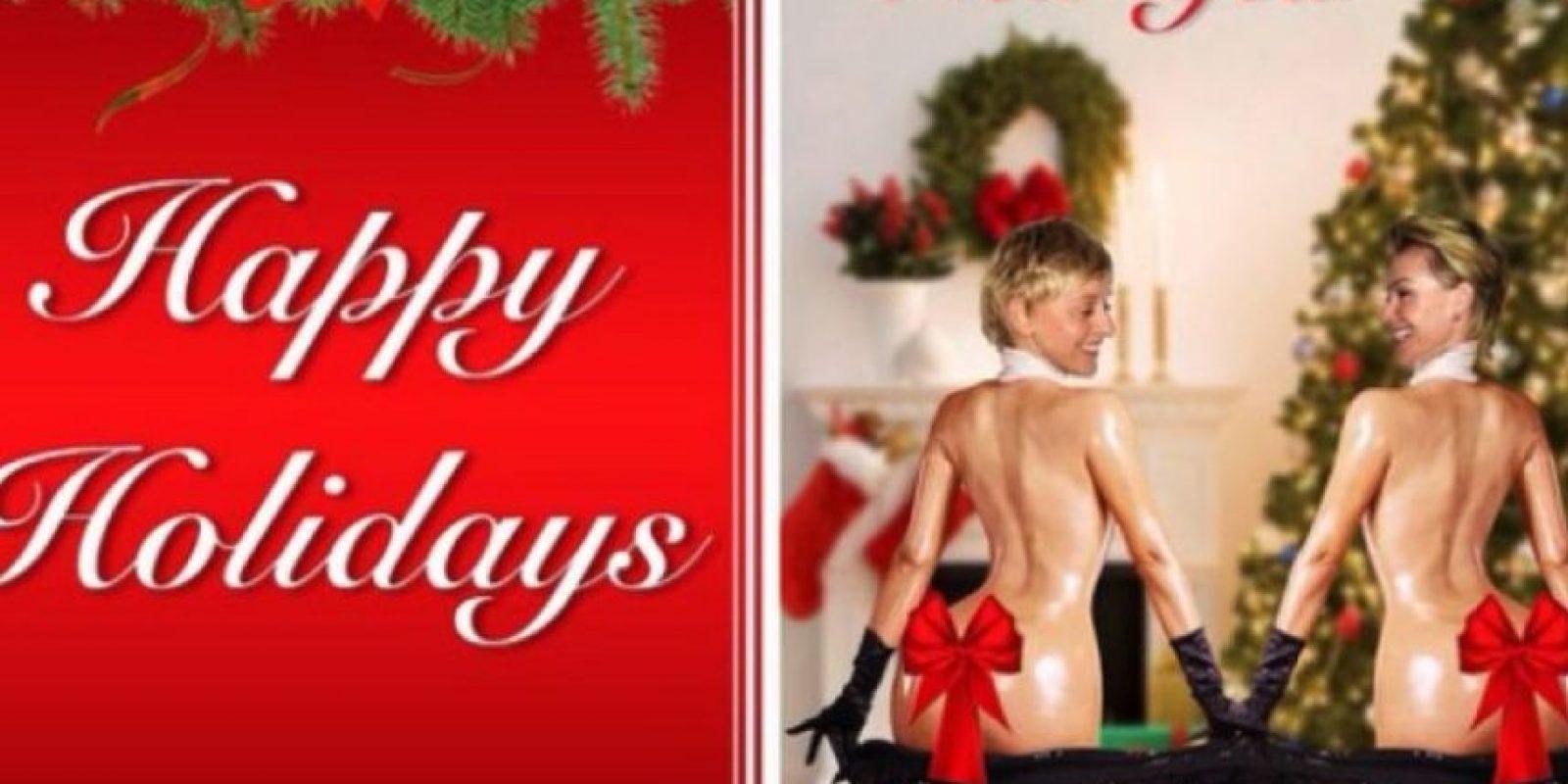 La conductora Ellen DeGeneres y su esposa imitaron a Kim para sus tarjetas navideñas de este año Foto:Instagram/Ellen DeGeneres