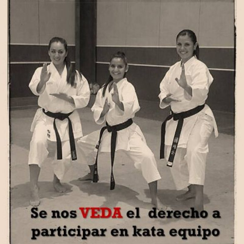 María Castellanos (derecha) dice en su escrito que participar en kata por equipos no representaba ningún peligro para su embarazo. Foto:Facebook María Castellanos