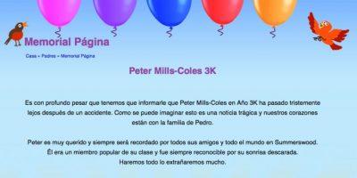 La escuela primaria de Peter dedicó un sitio web a su memoria Foto:peter-millscoles.muchloved.com