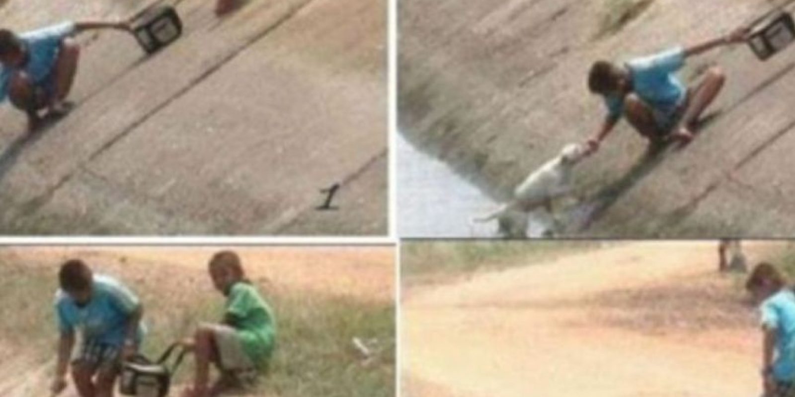 Dos niños rescatan a un perrito de un caño Foto:Imgur