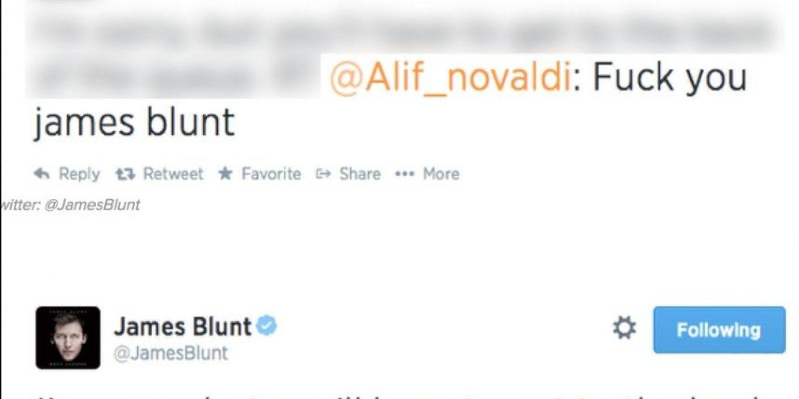 """""""Jódete James Blunt"""", le dijo alguien al cantante. Este dijo """"Lo siento, haz fila"""" Foto:Twitter"""