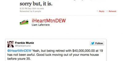 """Alguien le dijo a Frankie Muniz, de 'Malcolm' que actuaba raro. Este le dijo: """"Sí, pero estar retirado a los 19 con cuarenta millones de dólares no lo es. Suerte mudándote de la casa de tu madre a los 35"""" Foto:Twitter"""