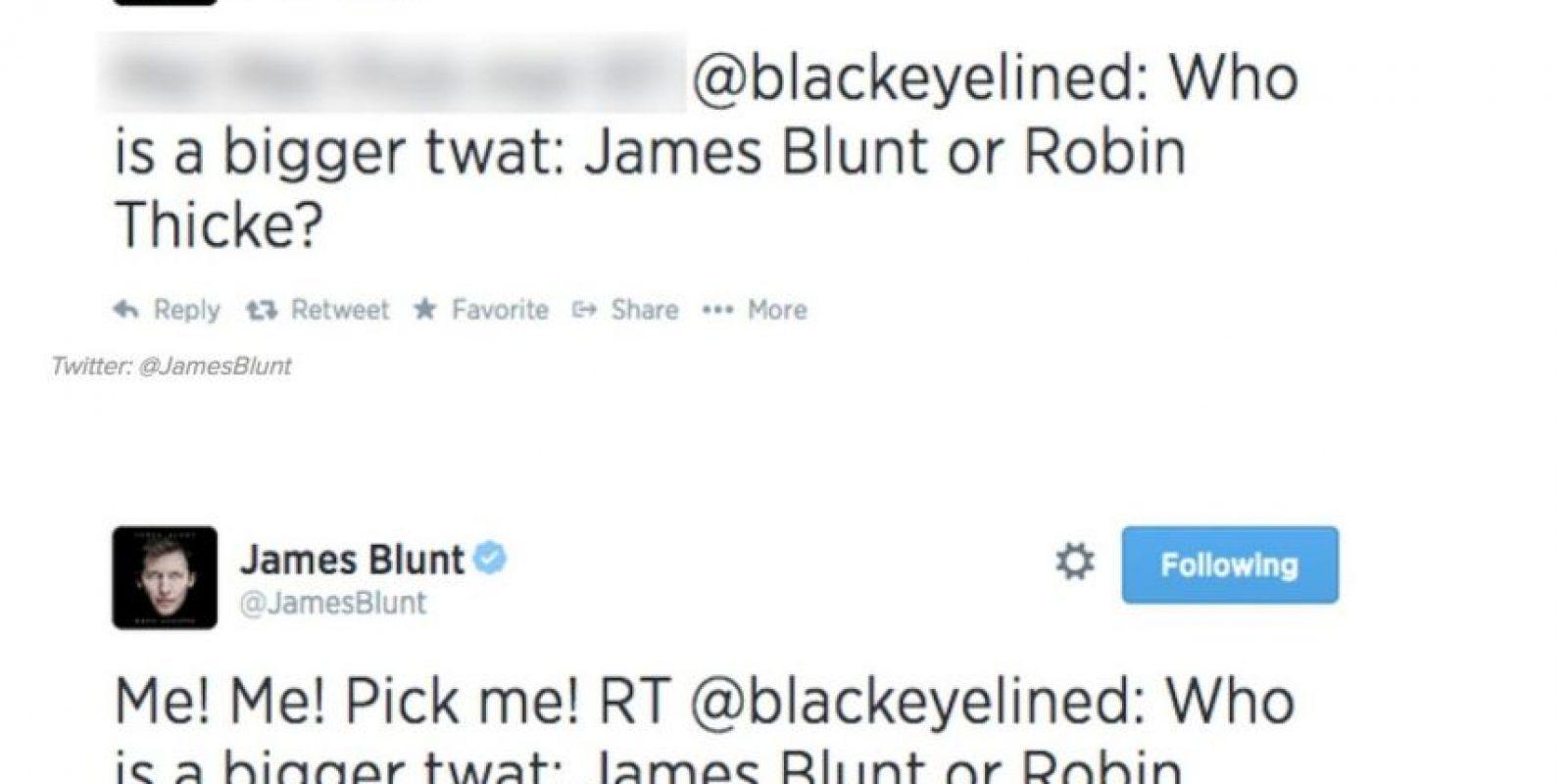 """""""¿Quién es un cretino peor? ¿James Blunt o Robin Thicke?"""" James Blunt responde: """"¡Yo, yo! ¡Escógeme a mí!"""" Foto:Twitter"""