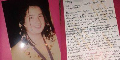 Cuando el mismo acosador la invitó a salir, ella le respondió con una devastadora carta. Foto:Louisa Manning/Facebook