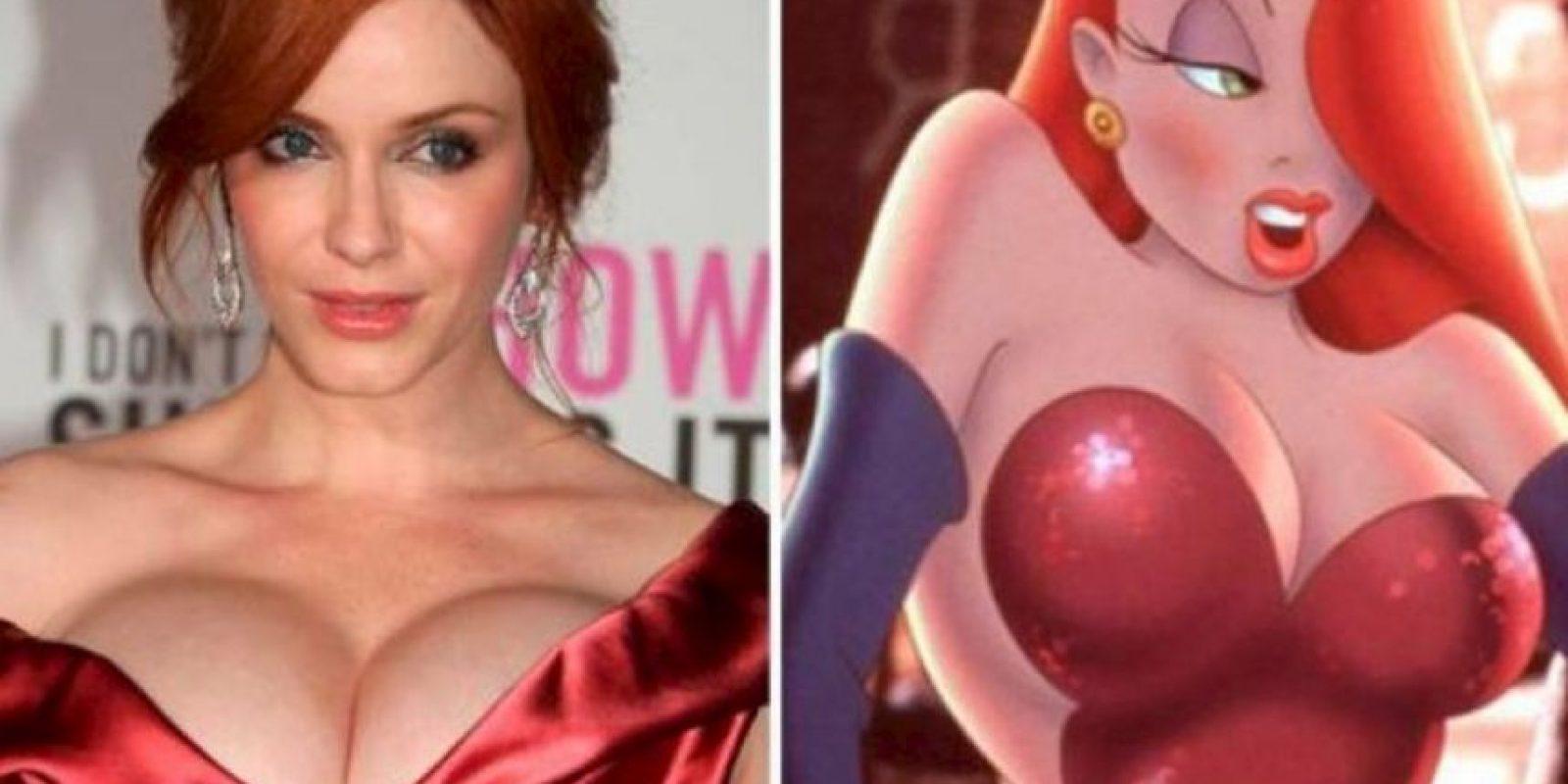 """9. Christina Hendricks idéntica a Jessica Rabbit de la película """"¿Quién engañó a Roger Rabbit?"""" Foto:Totally Looks Like"""