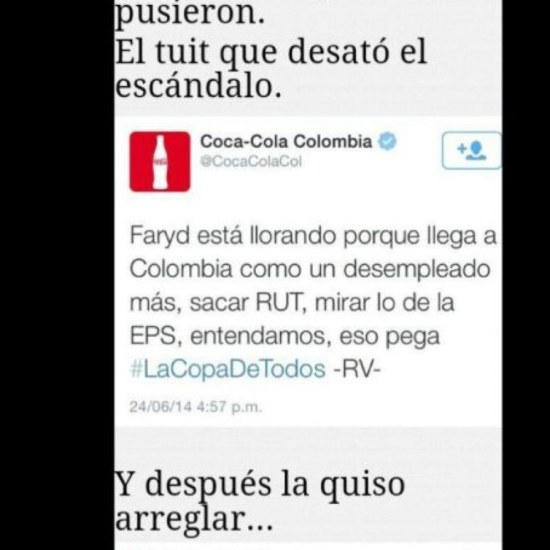 Quien escribió por Coca Cola insultó a una de sus estrellas futbolísticas en un momento conmovedor. Foto:Twitter