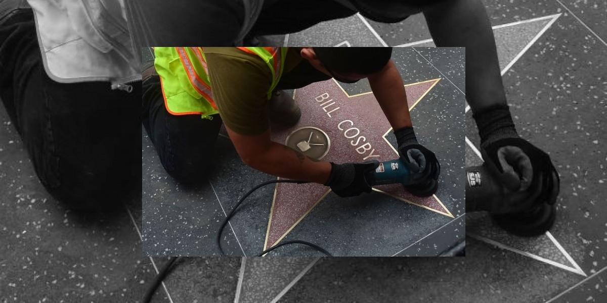 Pintan estrella de Bill Cosby en Hollywood con la palabra