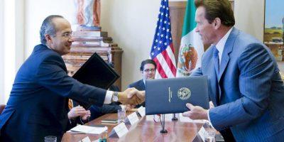 2008, con el entonces presidente mexicano Felipe Calderón Foto:Getty Images