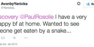 """""""Tengo una mejor amiga muy infeliz en casa. Ella queria ver a alguien ser tragado por una serpiente"""" Foto:Twitter"""