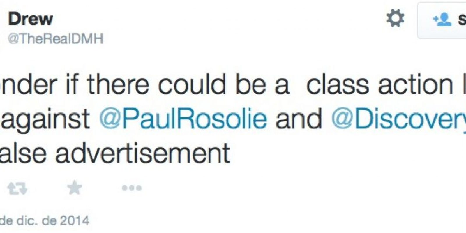 """""""Me pregunto si habrá una ley en contra de Discovery y Paul Rosolie por publicidad falsa"""" Foto:Twitter"""