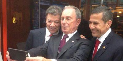 Juan Manuel Santos (presidente de Colombia) y Ollanta Humala (presidente de Perú) con Ollanta Humala (presidente de Perú) con el político Michael Bloomberg, ex alcalde de Nueva York Foto:Twitter