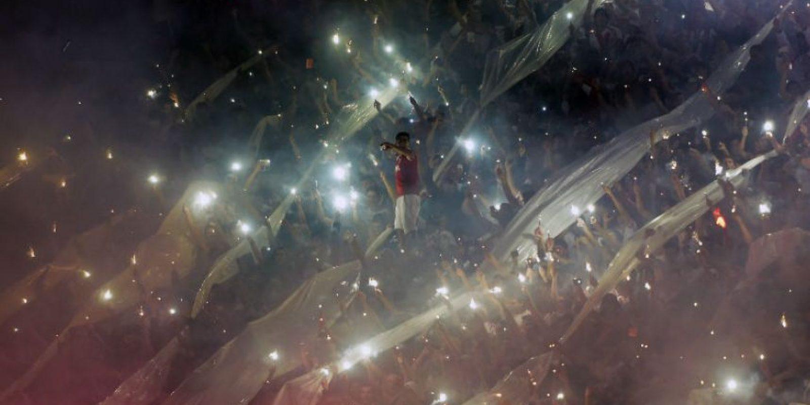 Así lució la grada del River Plate durante el partido en el estadio Monumental. Foto:AFP