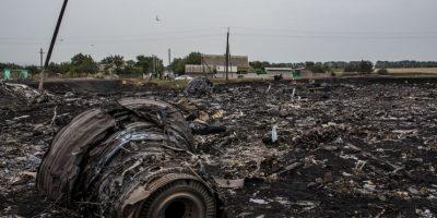 Restos del vuelo MH17 de Malaysia Airlines, que fue derribado en Ucrania. Foto:Getty