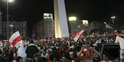 Los hinchas celebraron en el Obelisco de Buenos Aires, Argentina. Foto:AFP