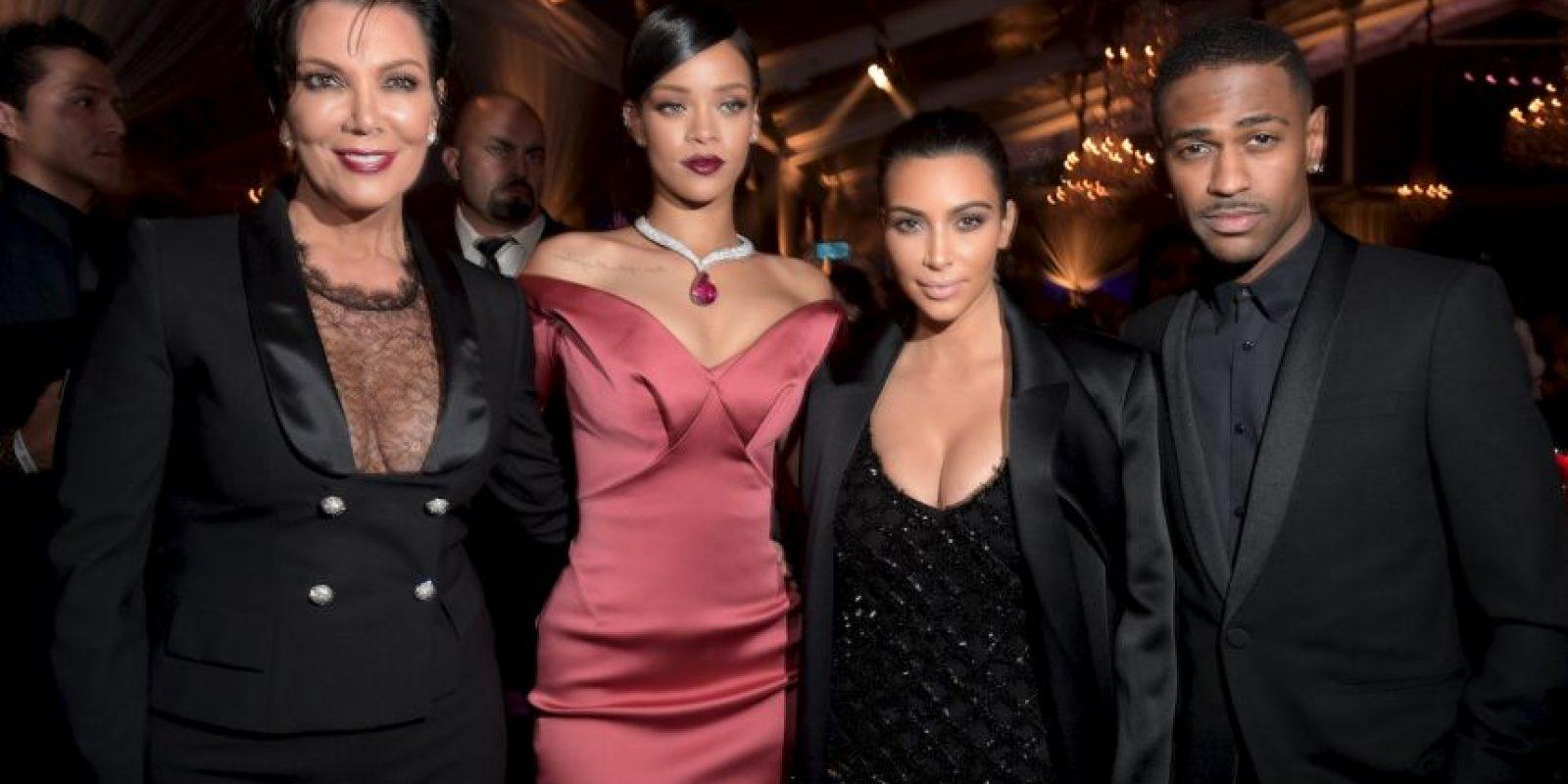 Kris Jenner, Rihanna, Kim Kardashian y Big Sean Foto:Getty Images