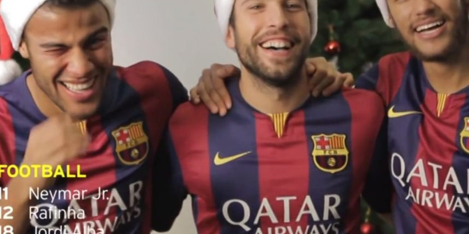 Rafinha, Jordi Alba y Neymar se divirtieron en un spot navideño Foto:Youtube: Barcelona FC
