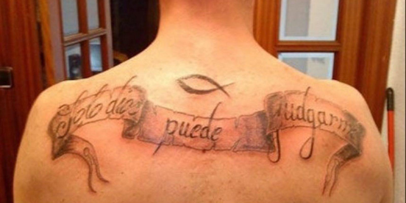 """Así es, sólo Dios puede """"juzgarme"""" Foto:Tumblr.com/Tagged/tatuajes-ortografía"""