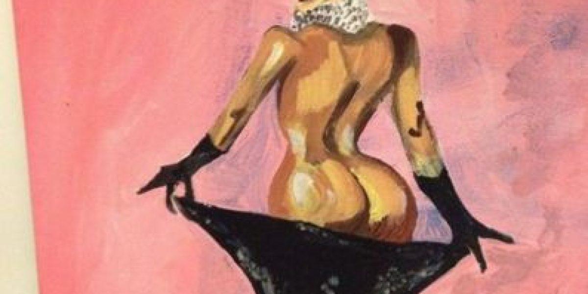 FOTOS: Este artista afirma haber pintado un retrato de Kim Kardashian con sus genitales