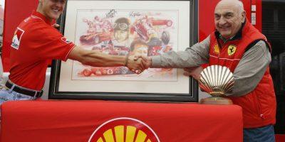 Froilán González estuvo con Ferrari durante cinco temporadas pero no de forma consecutiva. En la foto con el alemán Michael Schumacher en 2002. Foto:Getty Images