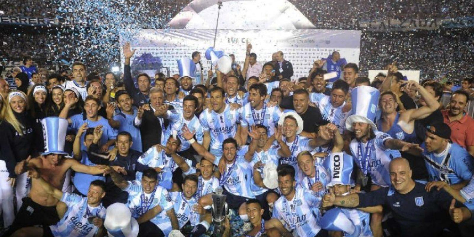 Así celebró Racing Club, el campeonato del futbol argentino. Foto:AFP