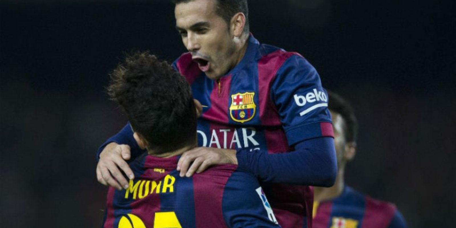Pedro anotó tres de los ocho goles del Barça al Huesca. Foto:EFE