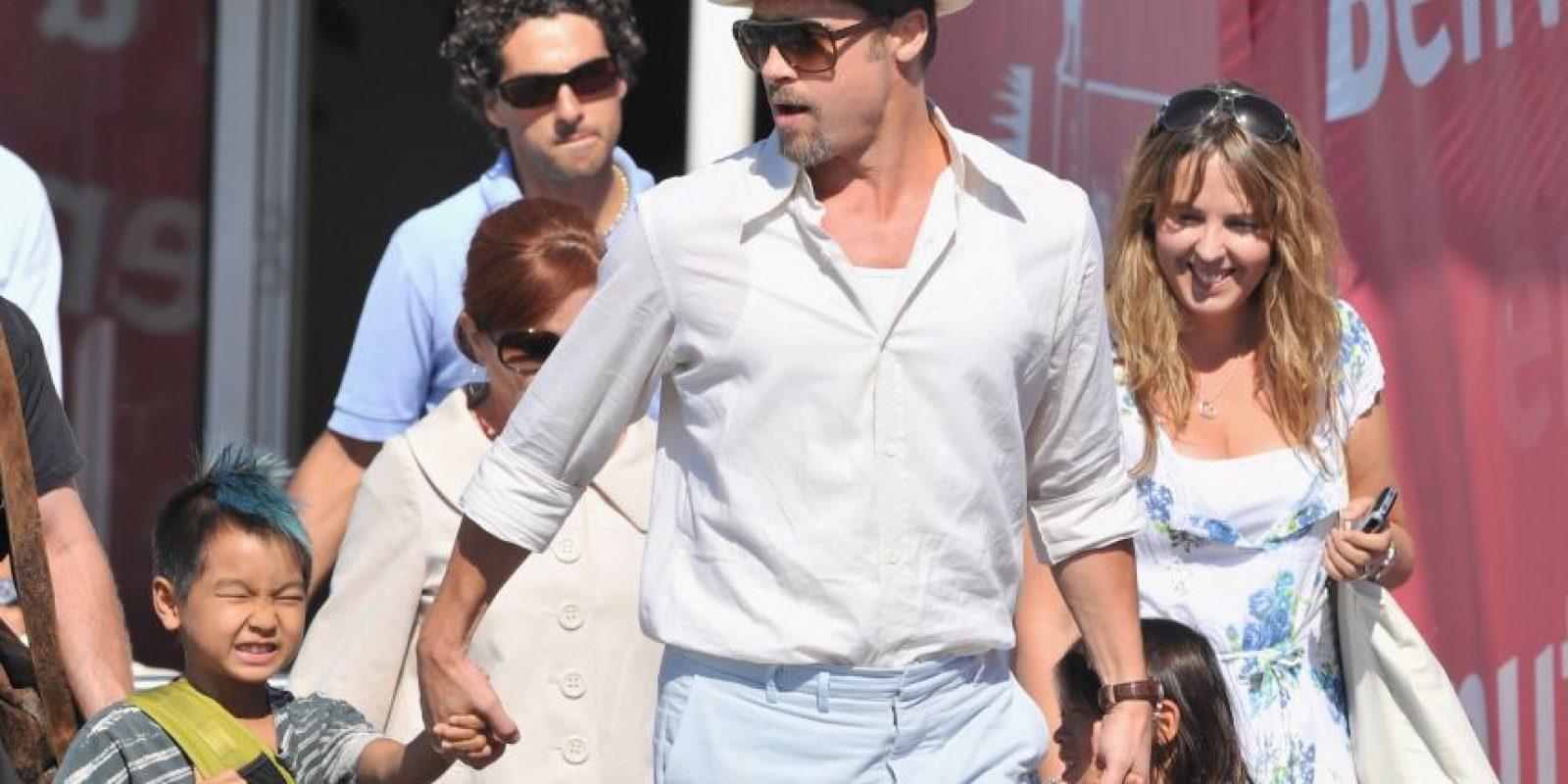 2008, Brad Pitt y Maddox Jolie-Pitt Foto:Getty Images