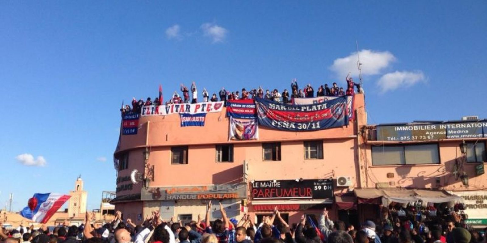 Los fans del Ciclón ya están en Marruecos Foto:Twitter: @SanLorenzo