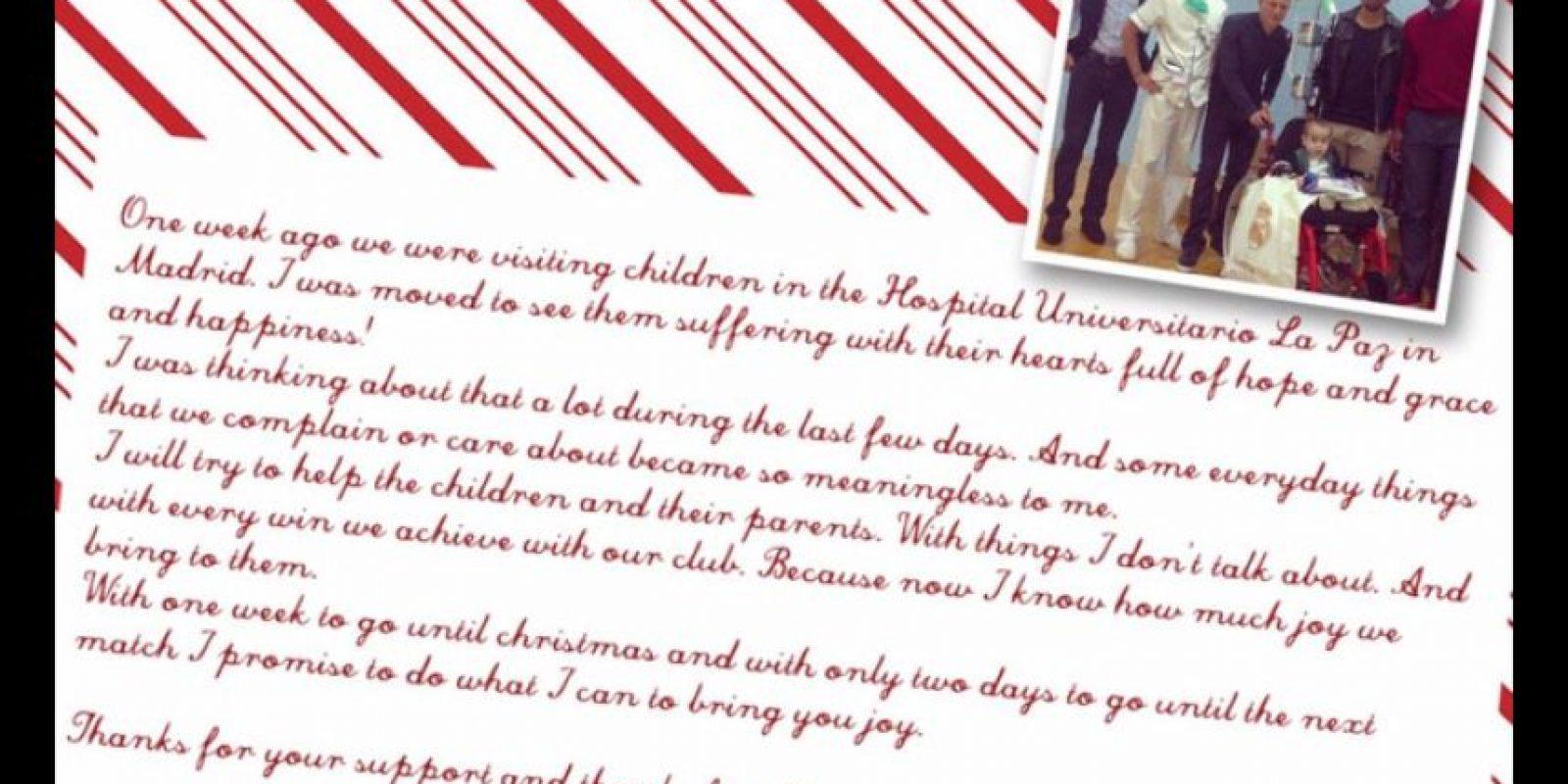 Este es el mensaje que Toni Kroos escribió para los niños del Hospital de La Paz. Foto:Twitter