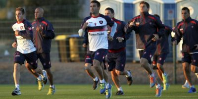 El San Lorenzo durante el entrenamiento de este jueves. Foto:EFE