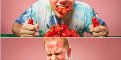 Él tiene el record por comer mucho chile Foto:Instagram/guinnessworldrecords