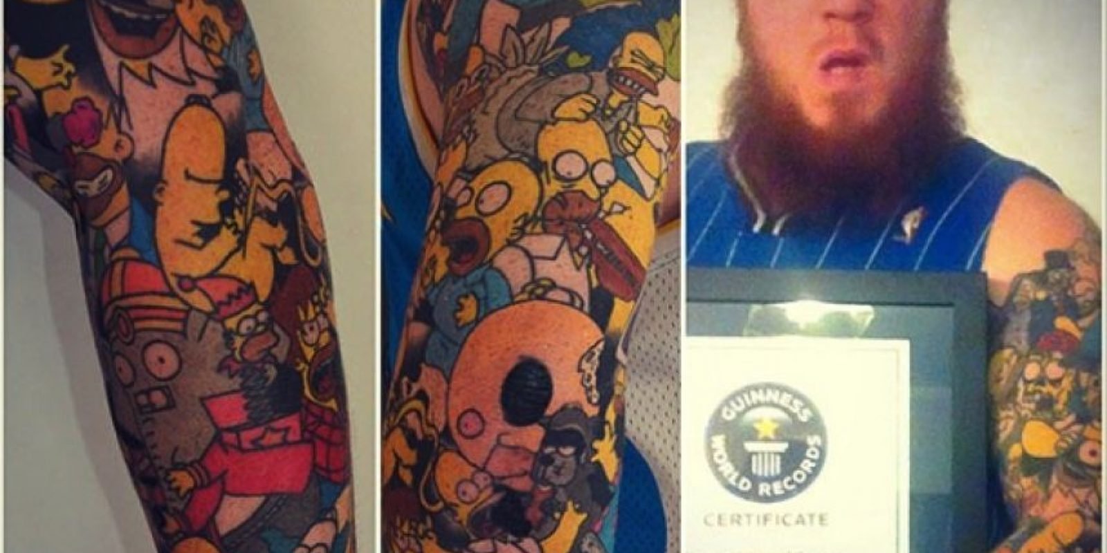 """Este hombre tiene 203 personajes de """"Los Simpson"""" tatuados en su cuerpo Foto:Instagram/guinnessworldrecords"""
